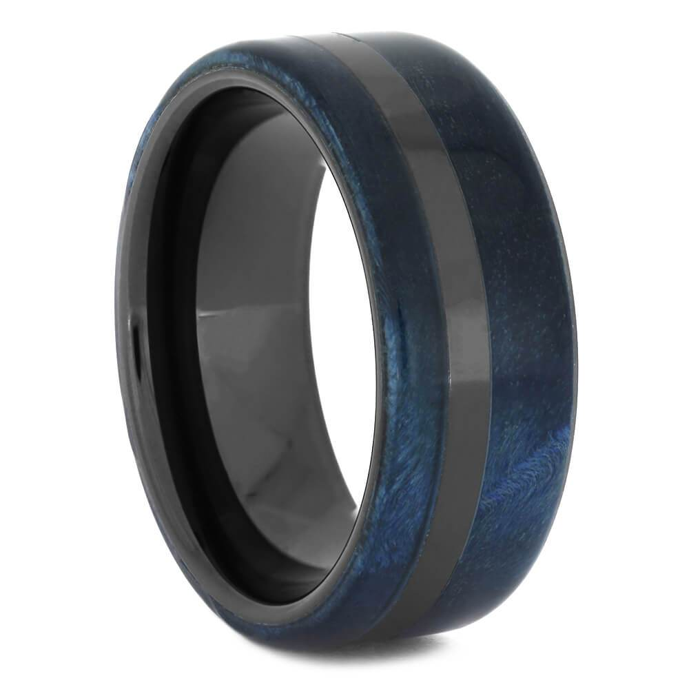 Blue Box Elder Burl Wood Ring in Black Ceramic Band-4448 - Jewelry by Johan