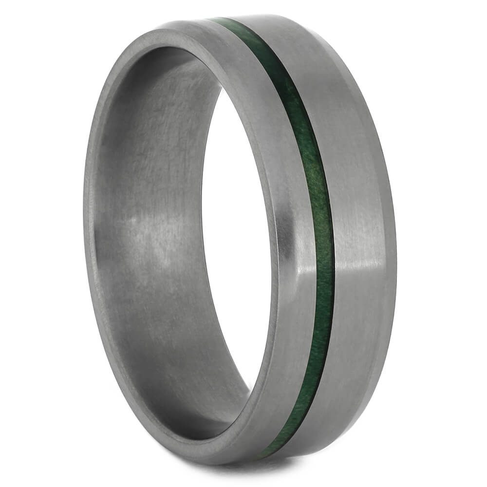 Men's Matte Titanium Wedding Band with Green Wood Pinstripe-4451 - Jewelry by Johan