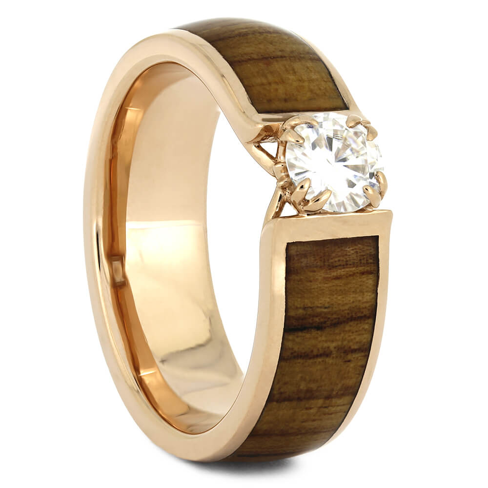 Rose Gold Engagement Ring with Wood