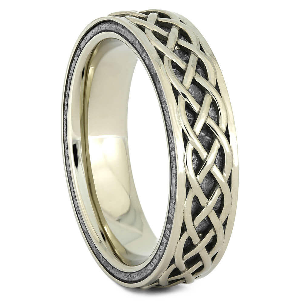 Meteorite Celtic Ring in White Gold-4454 - Jewelry by Johan