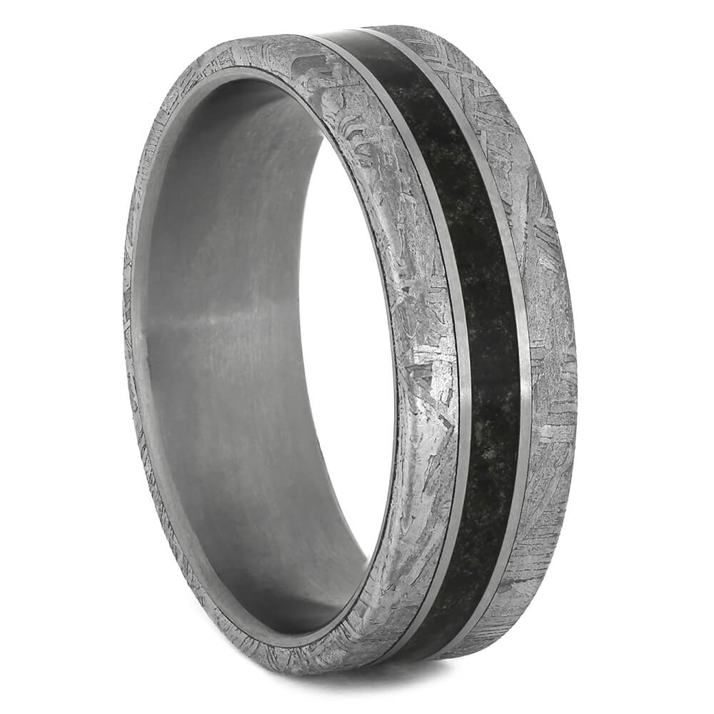 Lava Ring with Meteorite and Matte Titanium-4457 - Jewelry by Johan