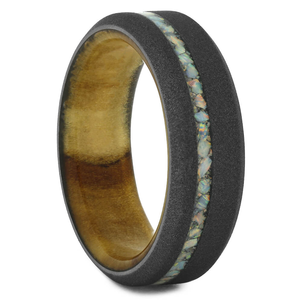Opal and Wood Wedding Band