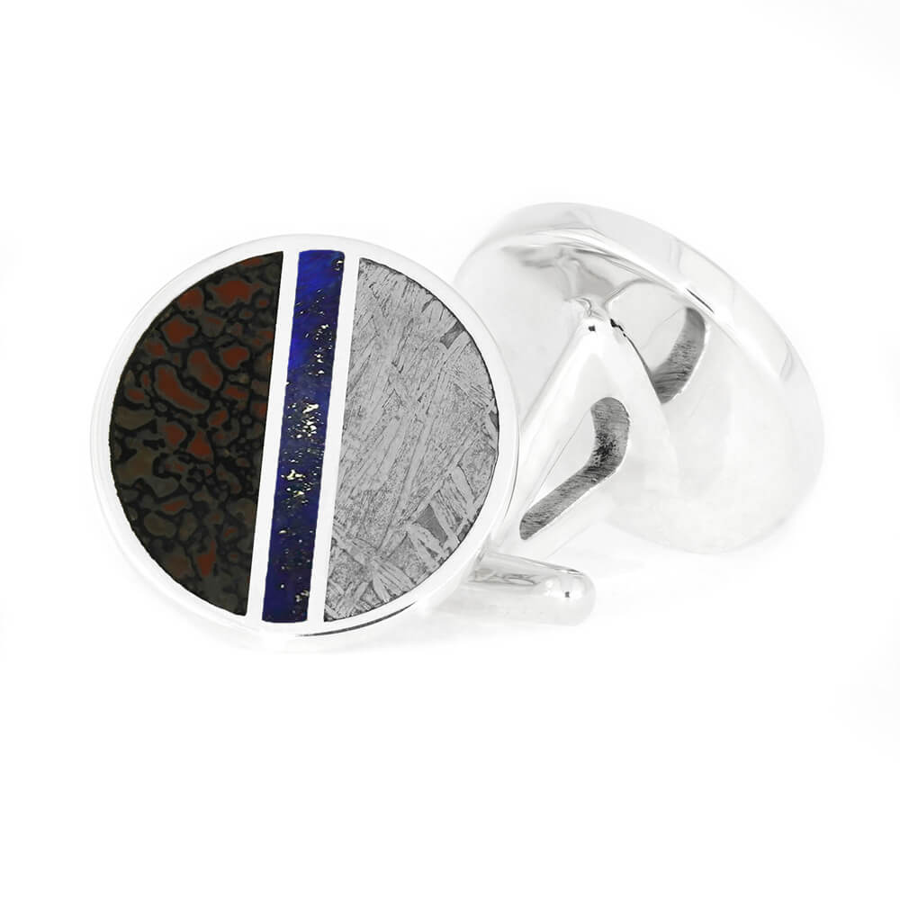 Meteorite and Dinosaur Bone Cuff Links with Crushed Lapis-4459 - Jewelry by Johan