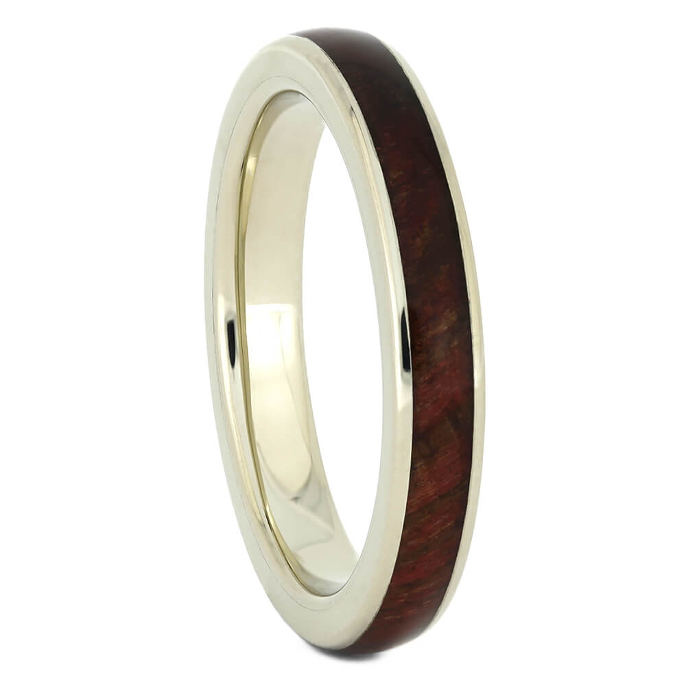 White Gold Women's Wedding Band with Wood