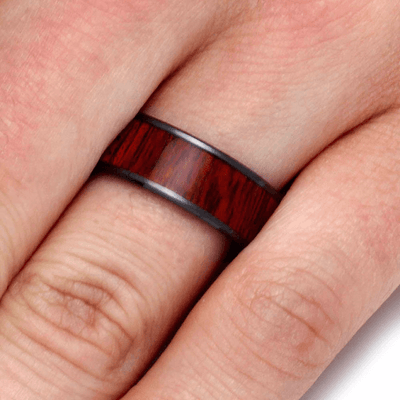 Mens Wedding Band Black Ceramic Rings For Men With Bloodwood Inlay (5)