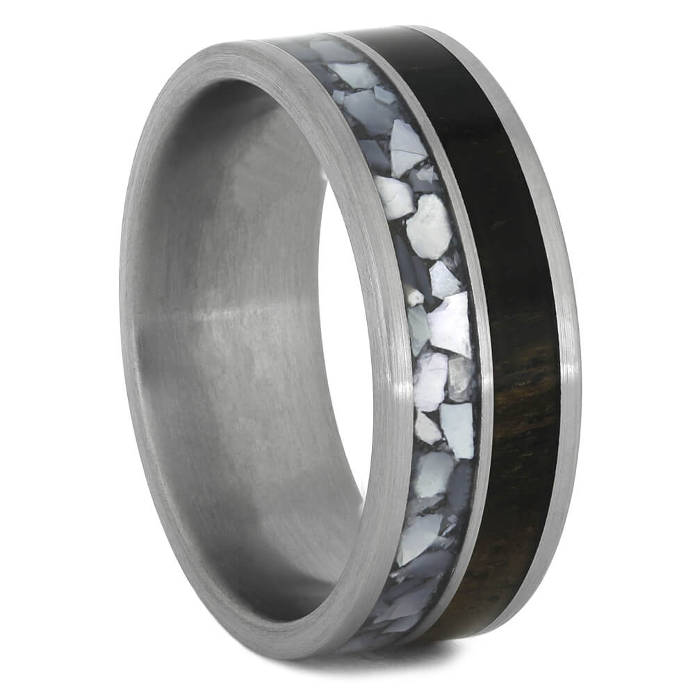 Mother of Pearl Ring for Men with Ebony Wood-4463 - Jewelry by Johan