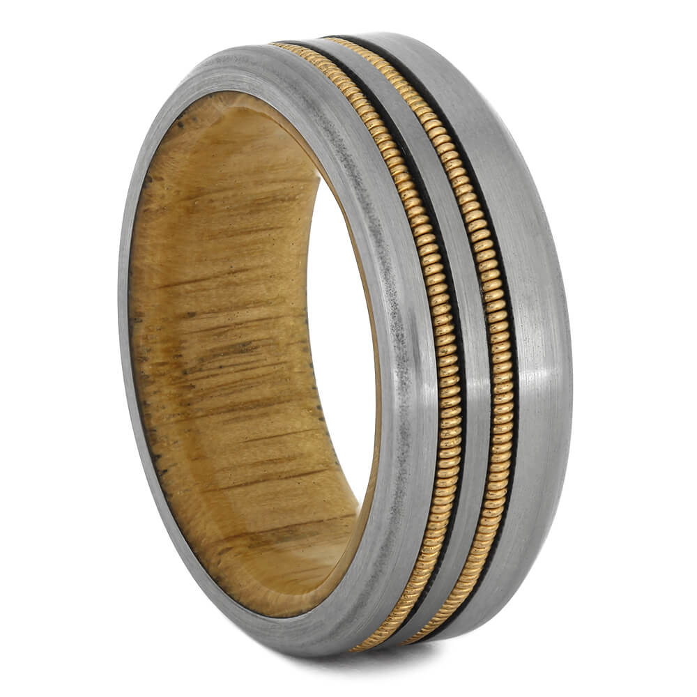 Double Guitar String Ring with Oak Wood Sleeve-4466 - Jewelry by Johan