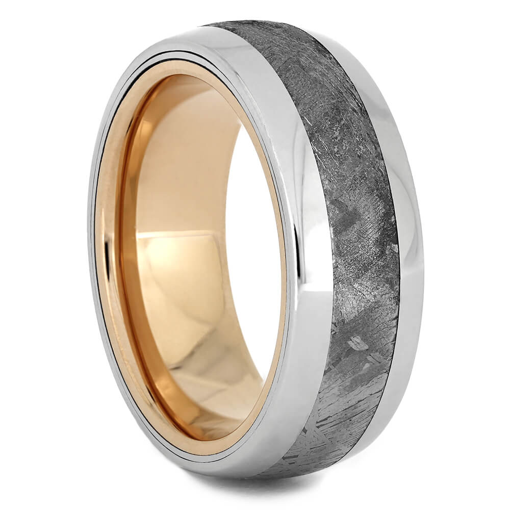 Platinum Meteorite Wedding Band with Rose Gold Sleeve-4467 - Jewelry by Johan