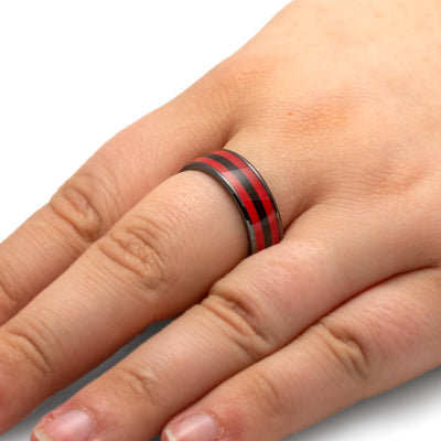 Black and Red Wedding Band