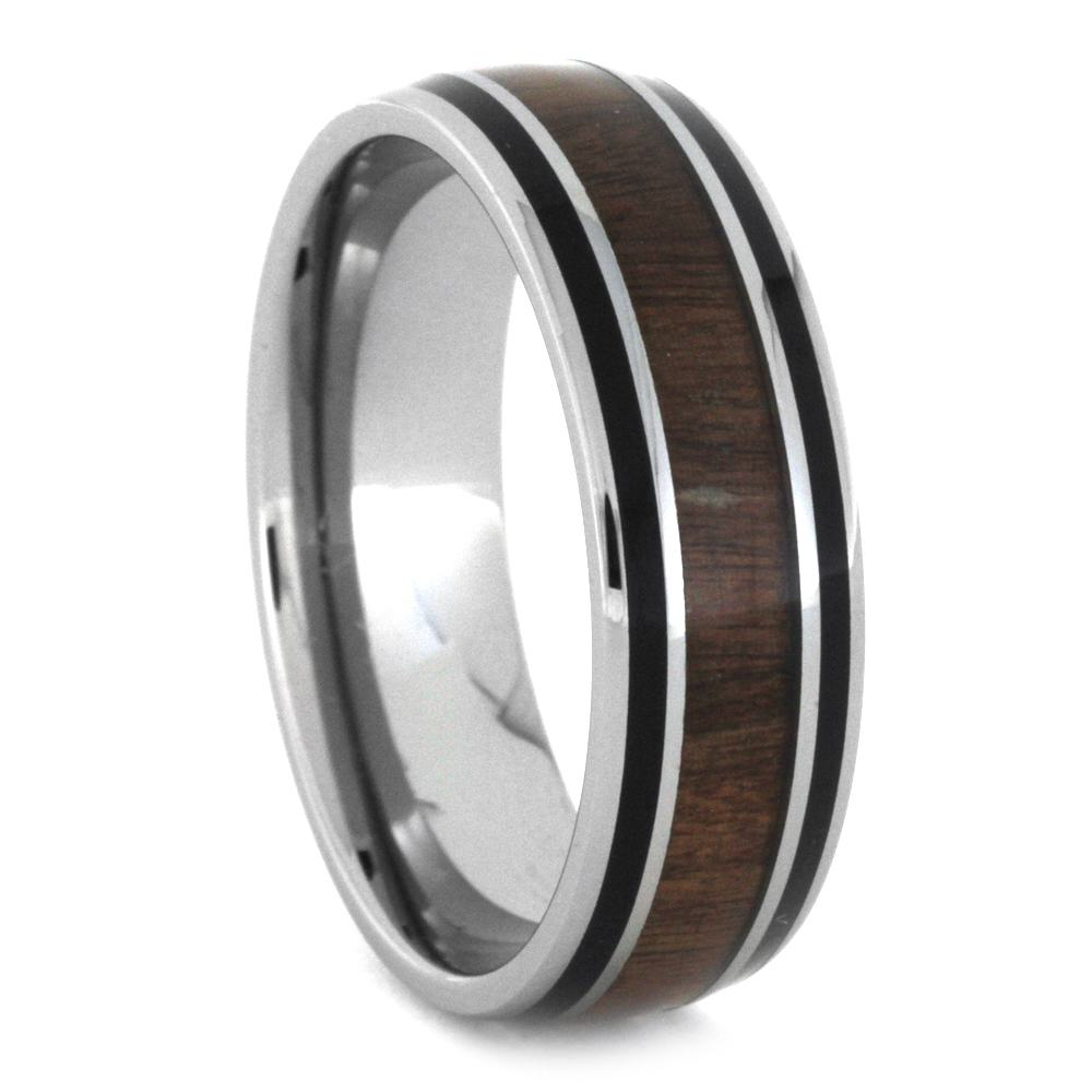 Men's Wedding Band With Wood Black Pinstripes, Size 13.75-RS8803 - Jewelry by Johan
