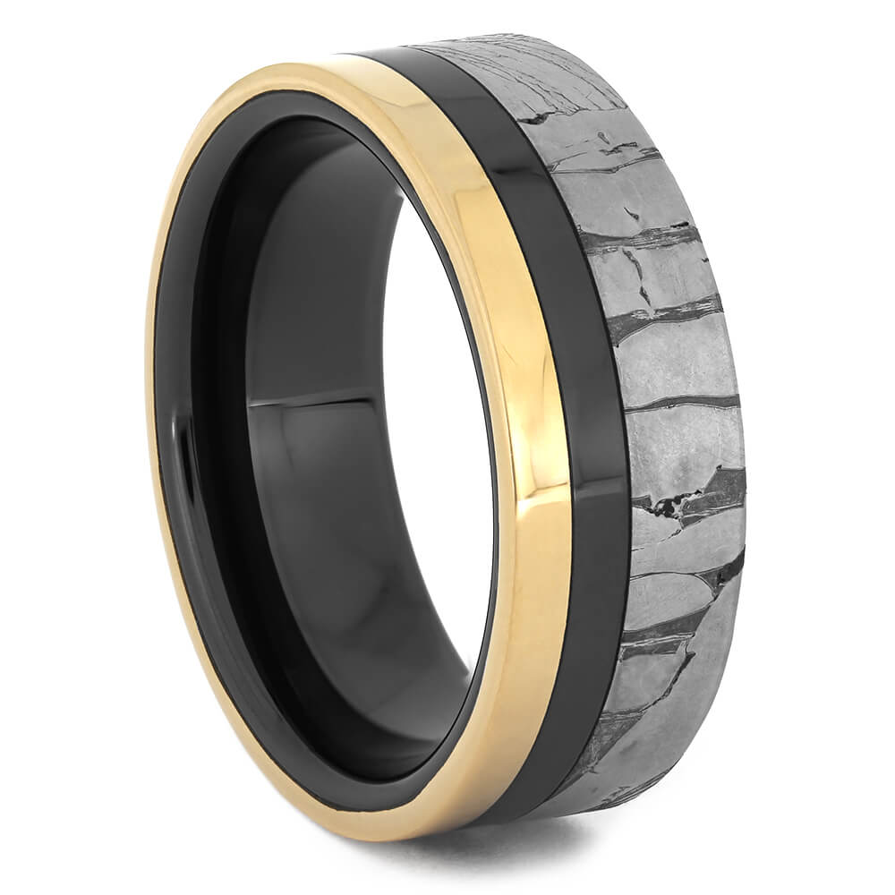 Seymchan Meteorite Wedding Band with Black Ceramic-4472 - Jewelry by Johan