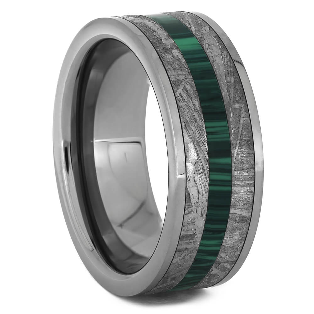 Tungsten Ring with Malachite & Meteorite-4473 - Jewelry by Johan