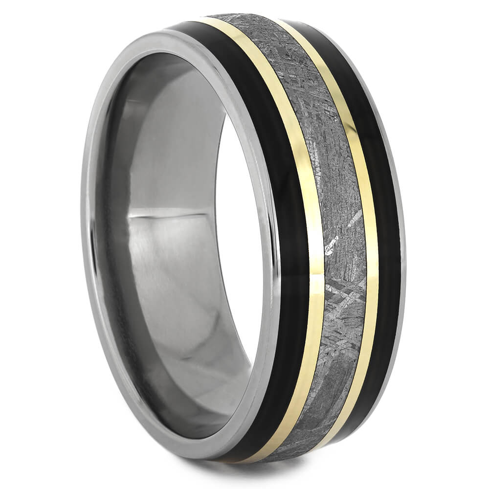 Ebony Black Wood Wedding Band with Gibeon Meteorite-2647 - Jewelry by Johan