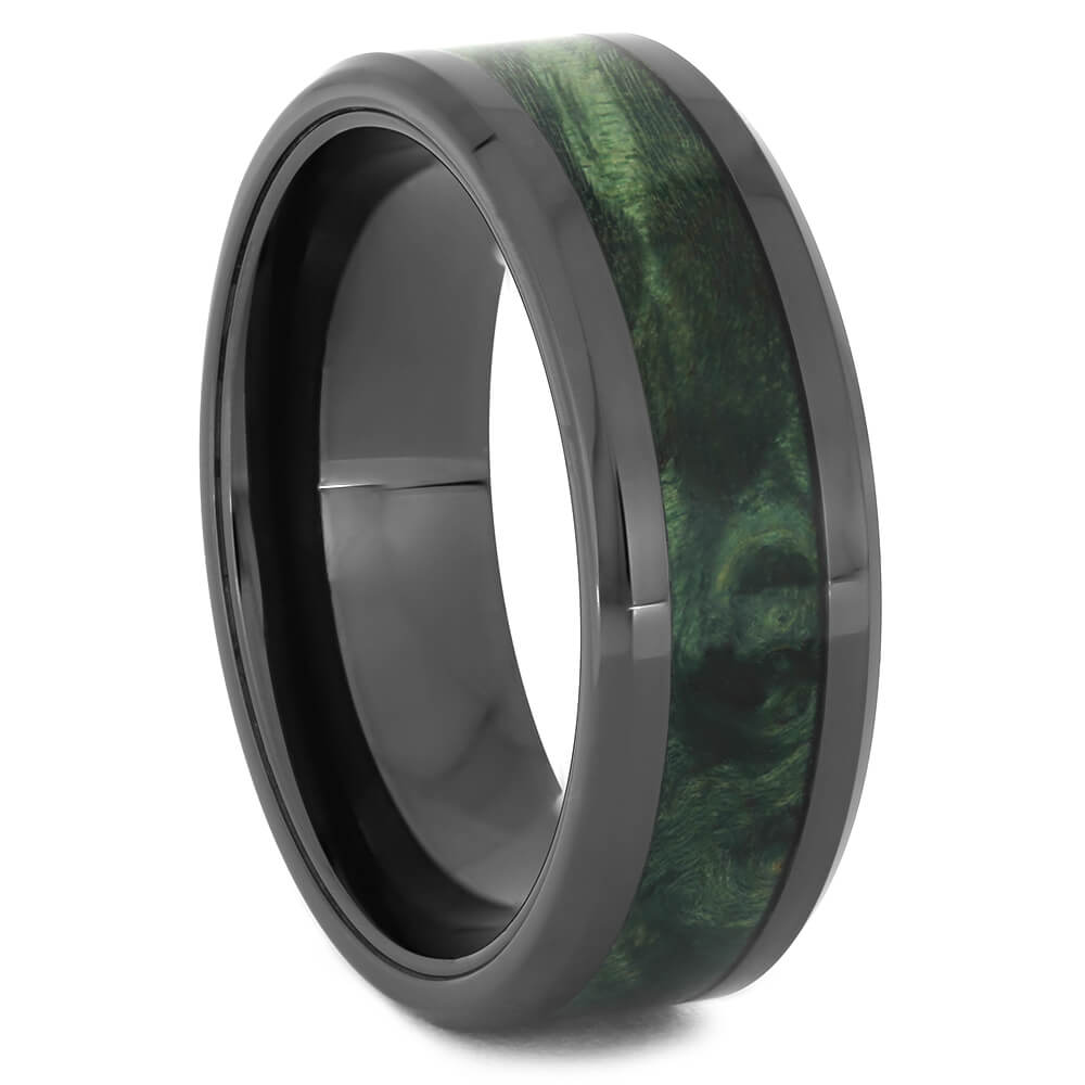 Green Box Elder Wedding Band in Black Ceramic-4479 - Jewelry by Johan