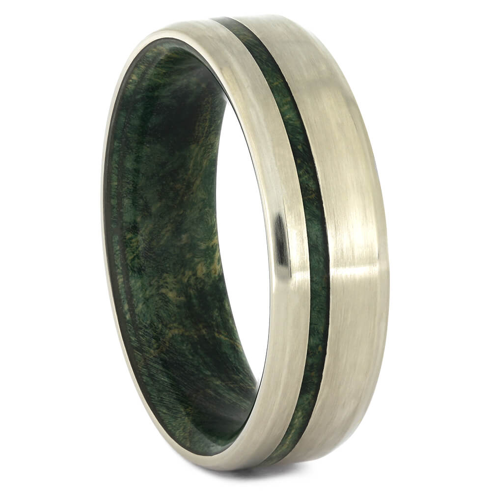 Matte White Gold Wedding Band with Green Wood-4482 - Jewelry by Johan