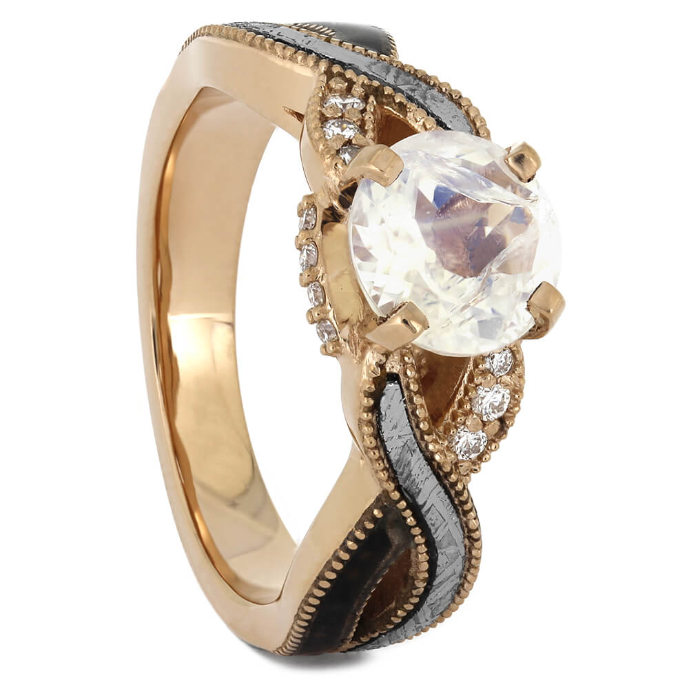 Rose Gold Moonstone Engagement Ring with Meteorite and Fossil Twist-4485 - Jewelry by Johan