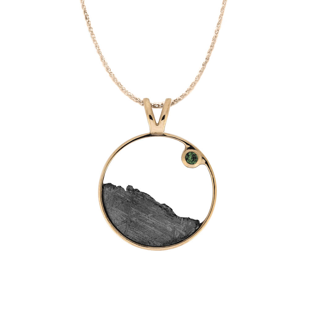 Moldavite and Meteorite Moonscape Necklace-4492-ML - Jewelry by Johan