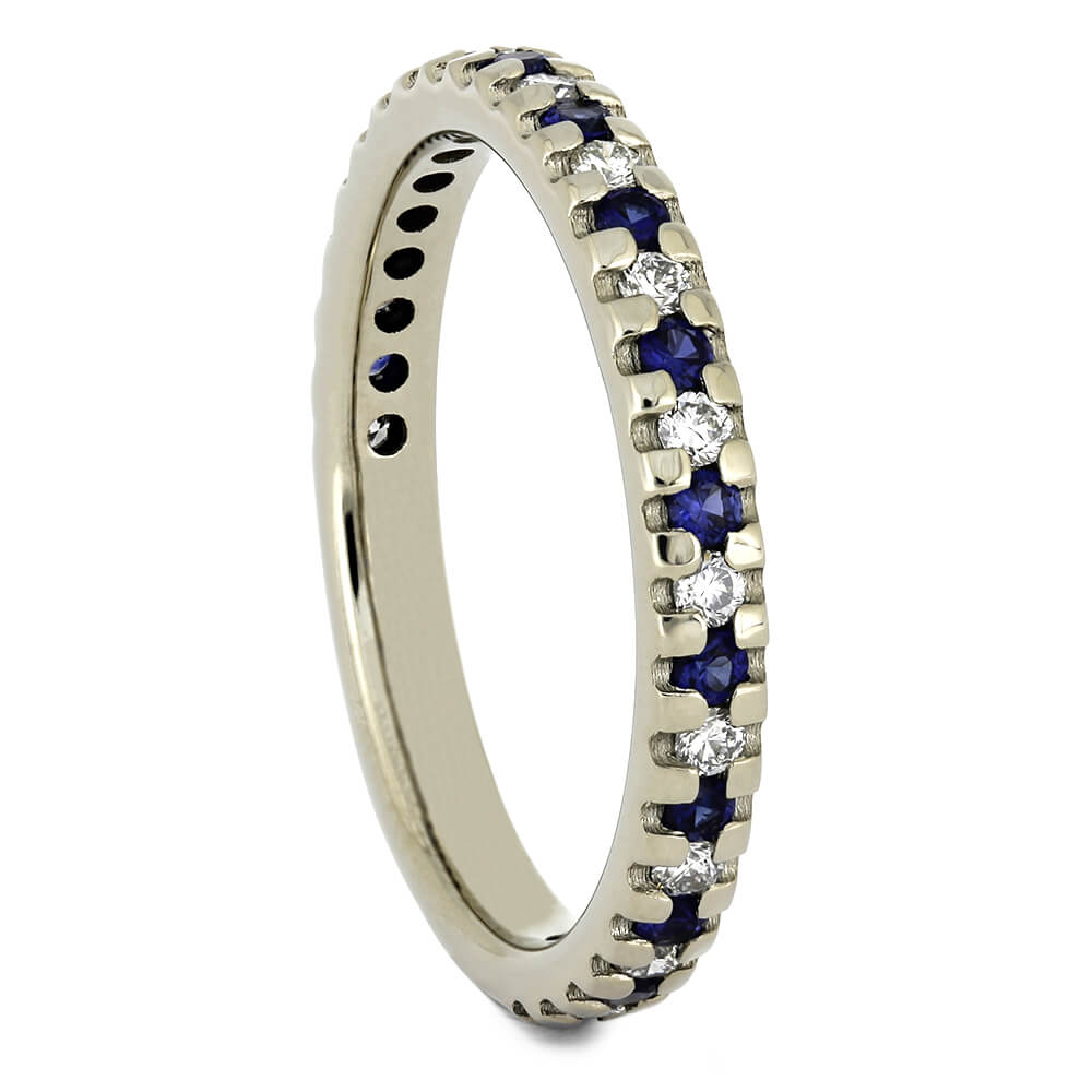 Blue Sapphire Wedding Band with Alternating Diamonds-4495 - Jewelry by Johan