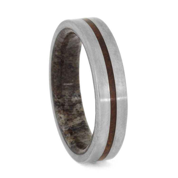 Thin Matte Titanium Ring With Ironwood Burl And Antler
