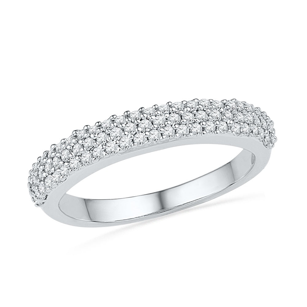 Triple Band Bands: Triple Row Diamond Wedding Band In Sterling Silver