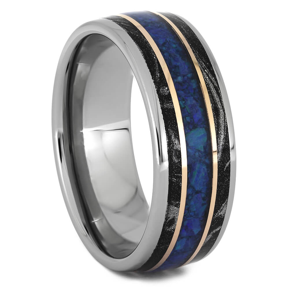Black and White Mokume Wedding Band with Opal-4509 - Jewelry by Johan