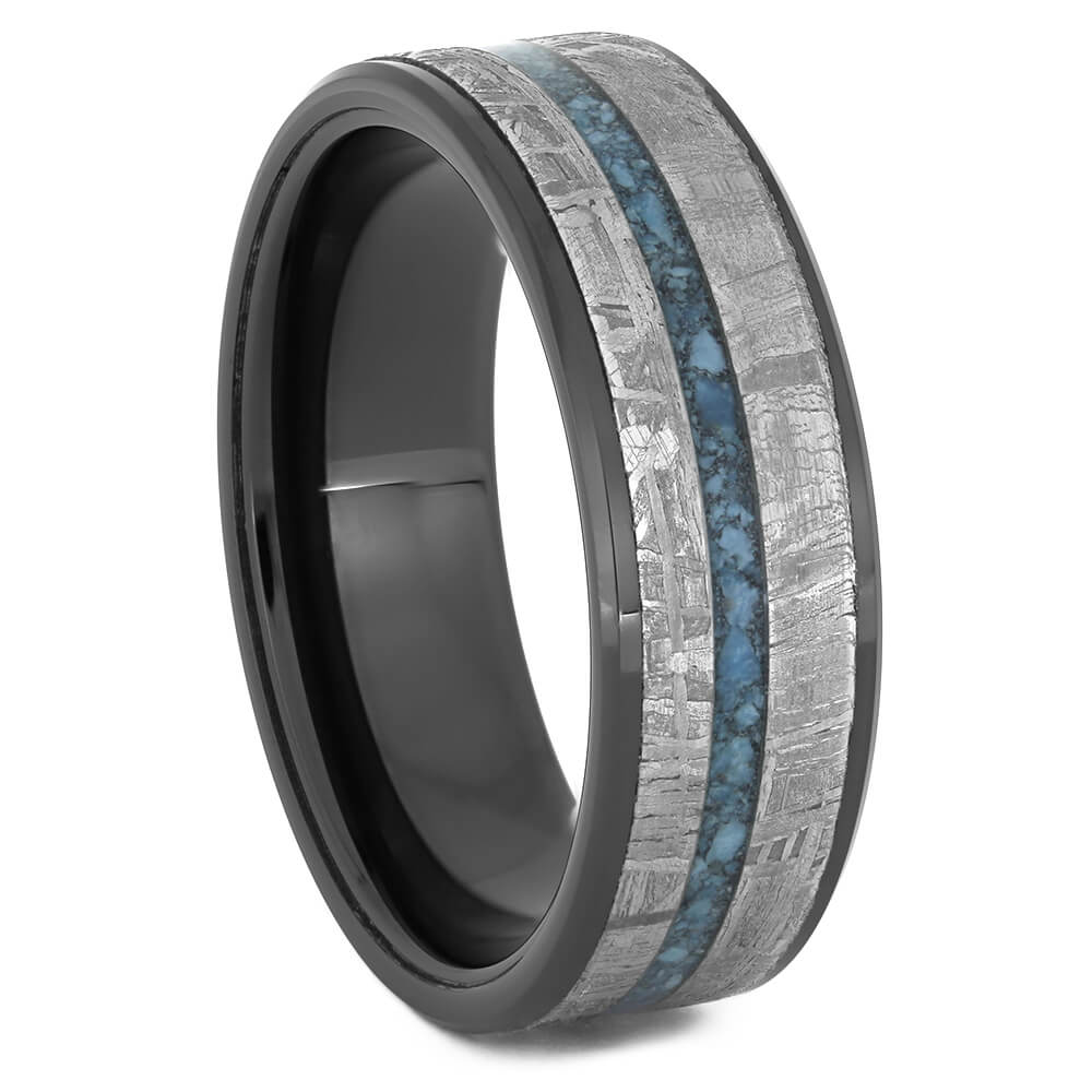 Black Ceramic Wedding Band with Meteorite and Turquoise-4512 - Jewelry by Johan