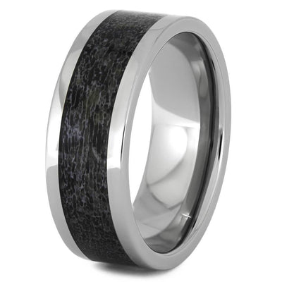 Men's Titanium Wedding Band with Black Antler Inlay-4513-BK - Jewelry by Johan