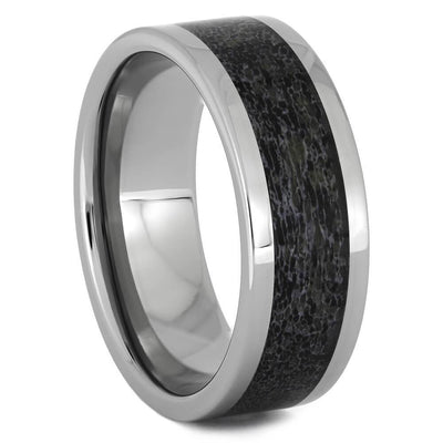 Polished Titanium Wedding Band with Deer Antler Inlay