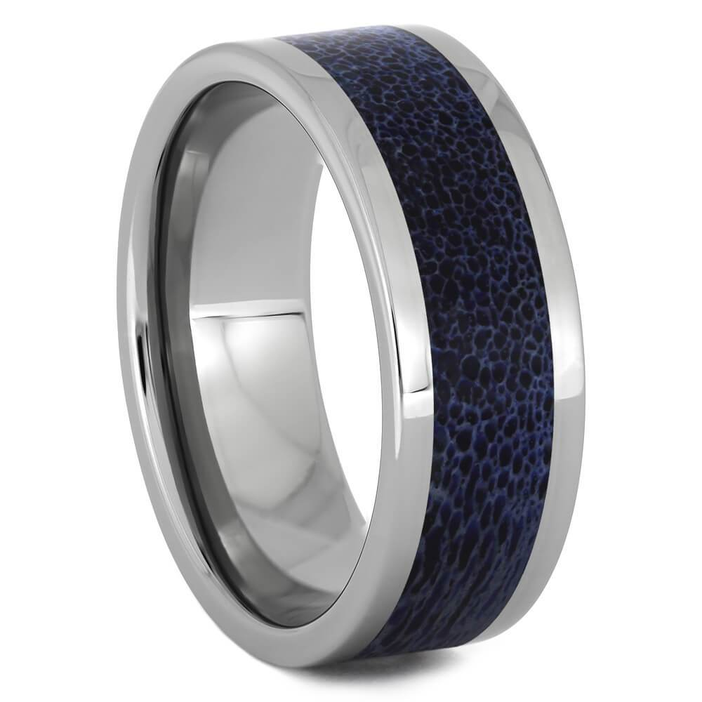 Colorful Titanium Ring with Blue Antler Inlay-4513-BL - Jewelry by Johan