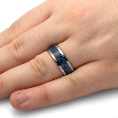 Blue Deer Antler Wedding Band