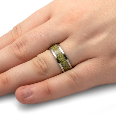 Polished Titanium Band with Unique Gold Antler-4513-GO - Jewelry by Johan