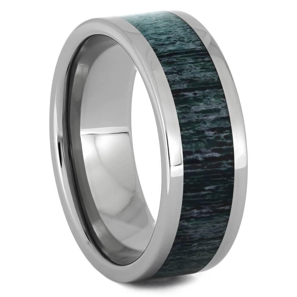 Men's Titanium Ring with Green Antler Inlay-4513-GR - Jewelry by Johan