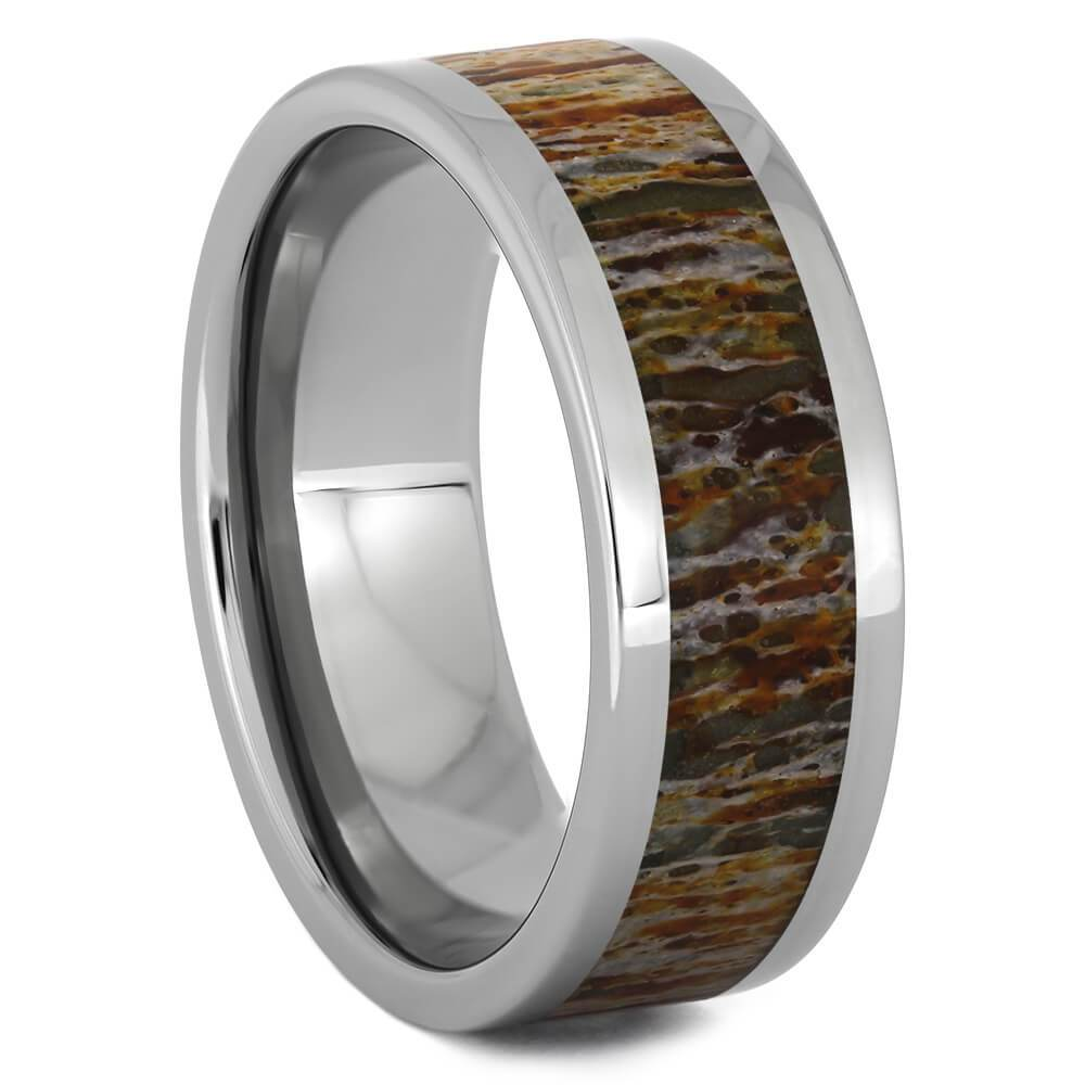 Titanium Ring with Unique Orange Deer Antler-4513-OR - Jewelry by Johan