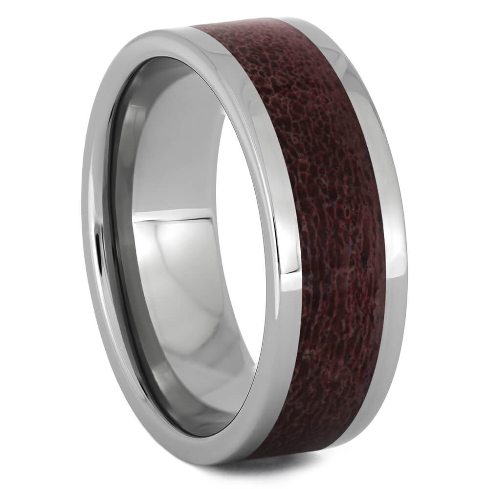 Titanium Wedding Band with Warm Red Deer Antler-4513-RD - Jewelry by Johan