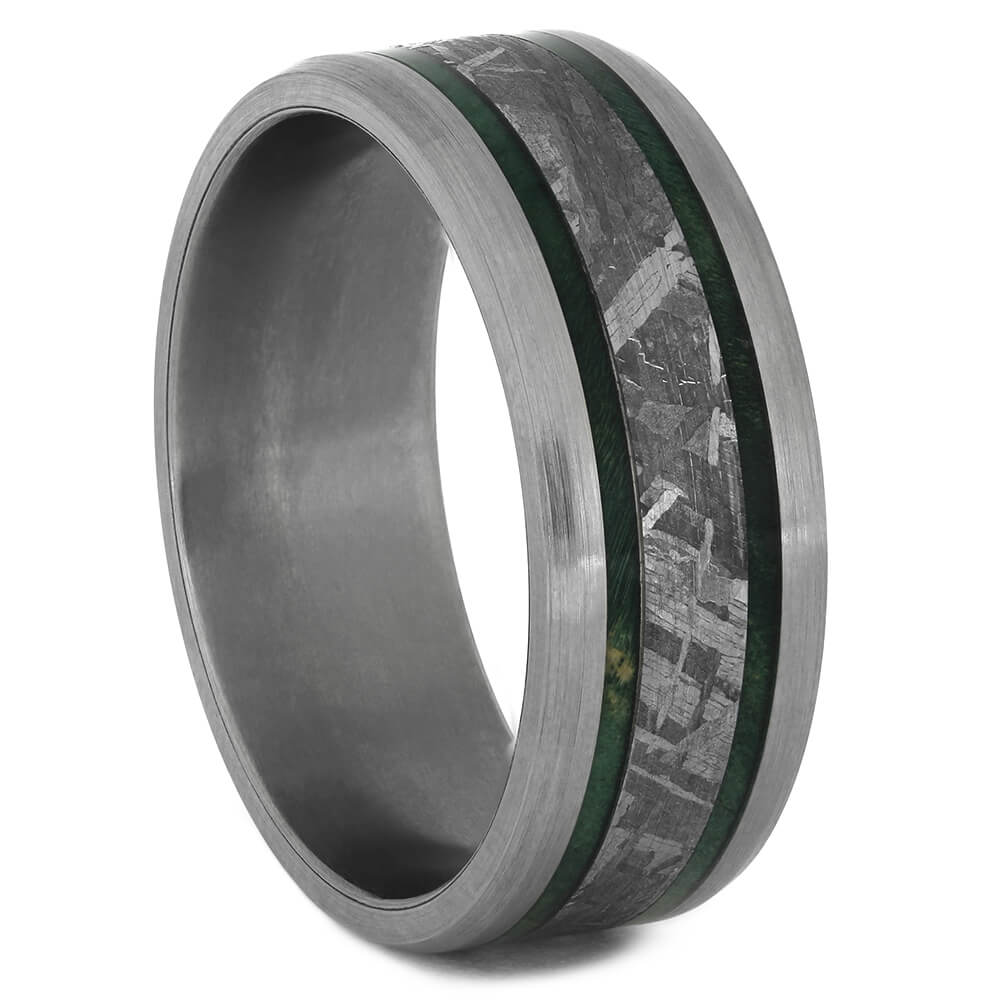 Meteorite Ring with Brushed Titanium and Green Box Elder Wood Burl-4517 - Jewelry by Johan