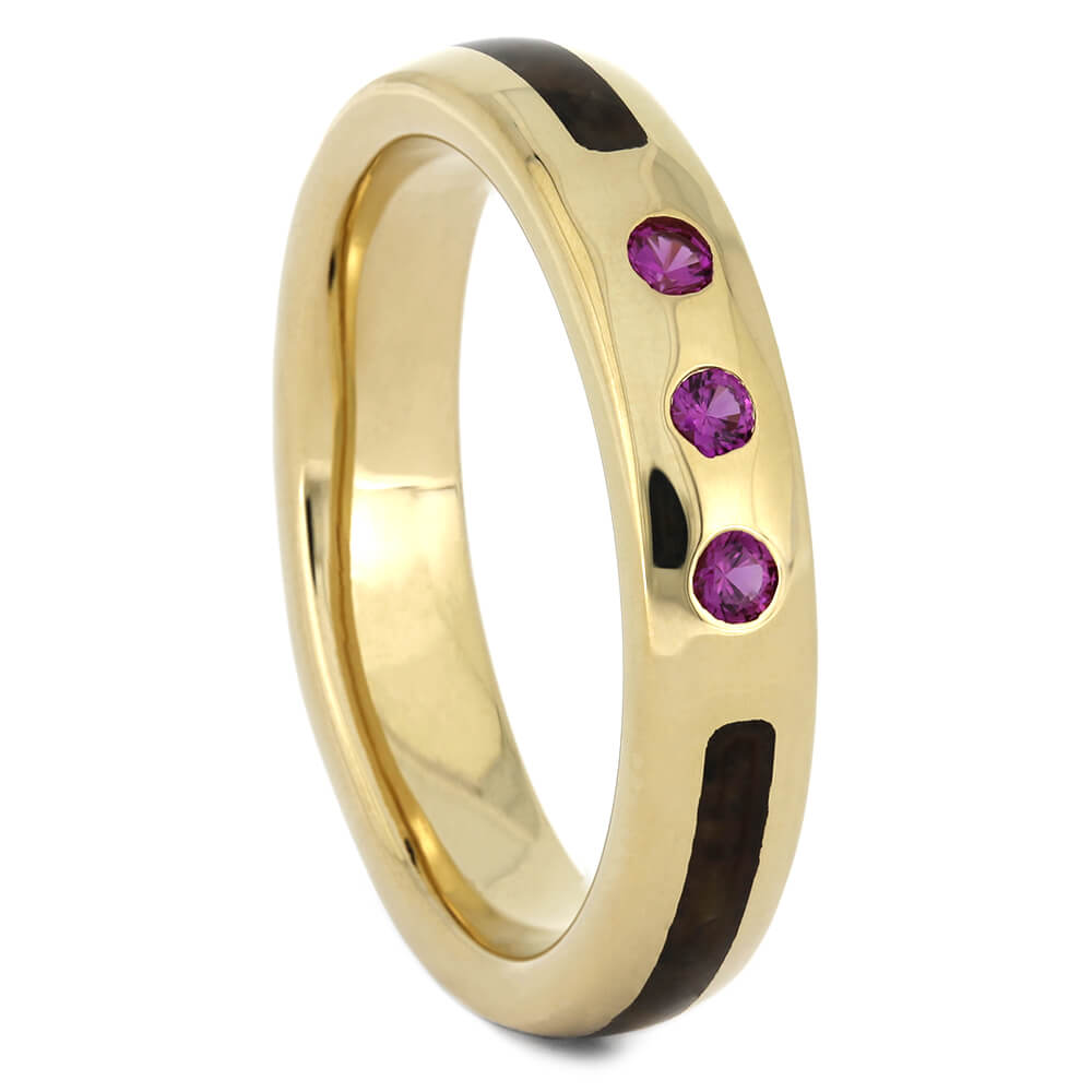 Three Stone Pink Sapphire Wedding Band with Dinosaur Bone-4518 - Jewelry by Johan