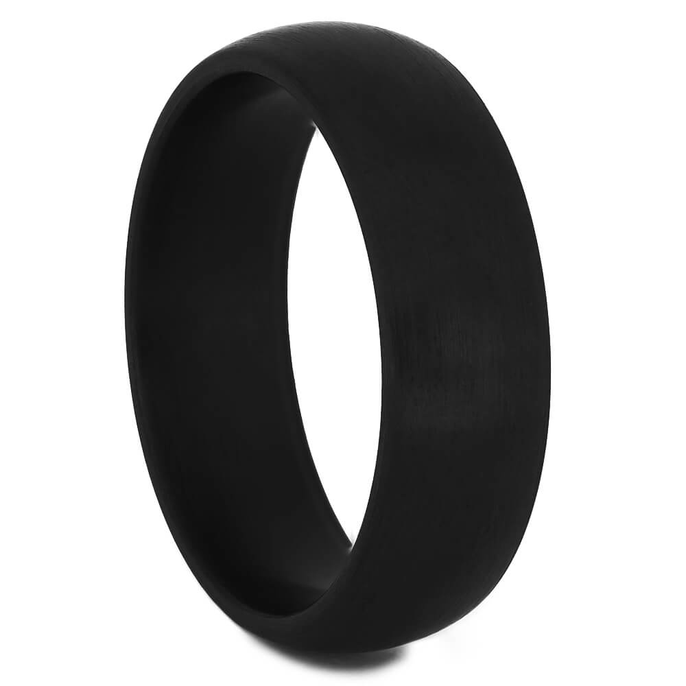 Brushed Black Zirconium Men's Ring with Round Profile-4520-BR