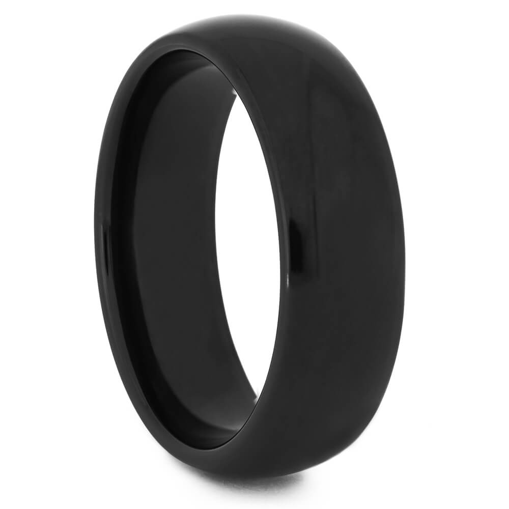 Round Black Zirconium Men's Ring with Polished Finish-4520 - Jewelry by Johan