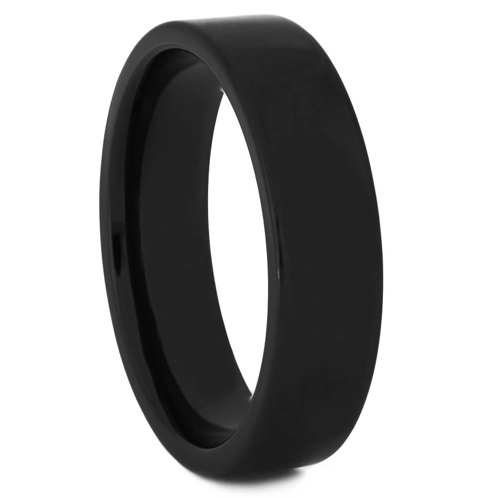 Polished Black Zirconium Wedding Band for Men