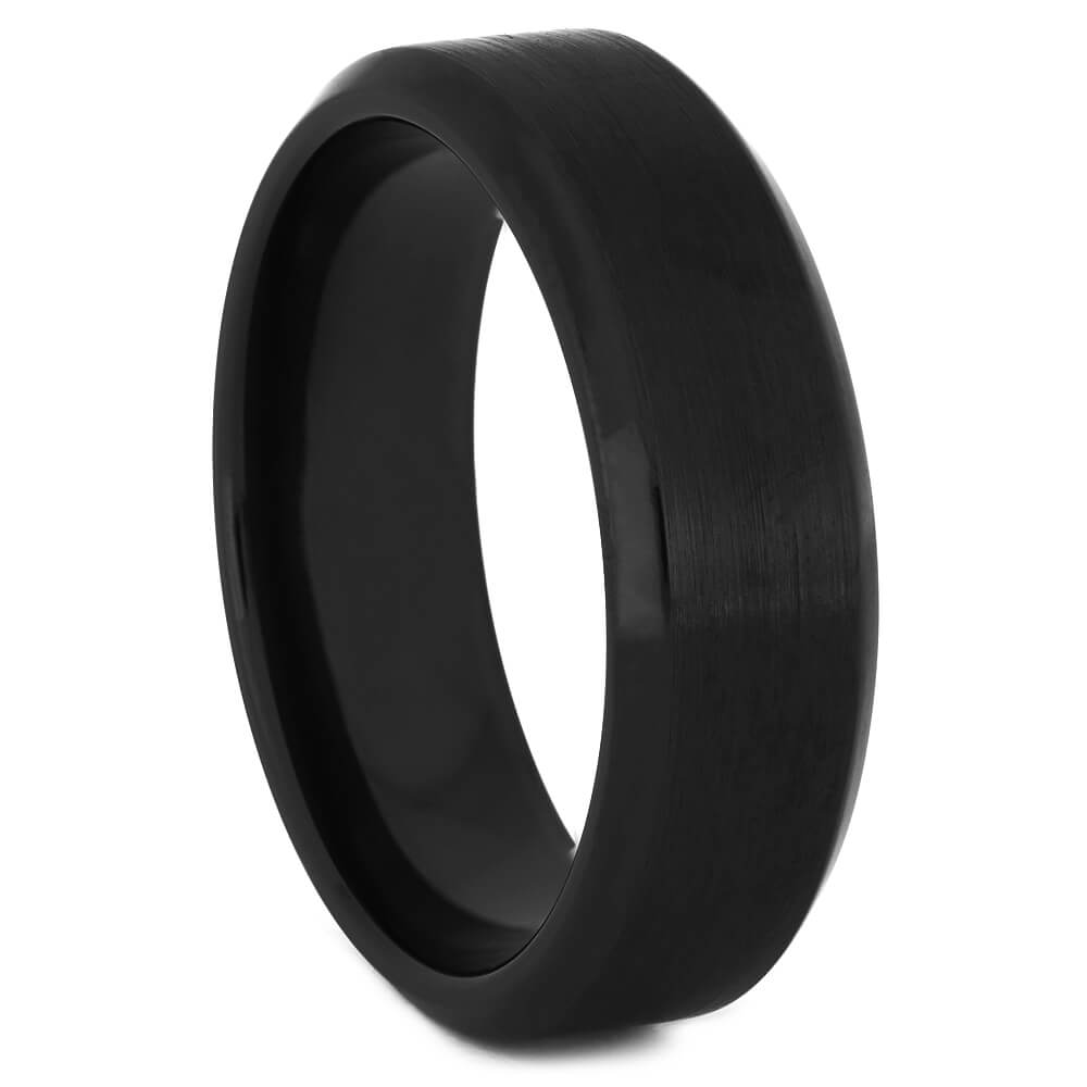 Beveled and Brushed Men's Black Zirconium Ring-4522-BR - Jewelry by Johan