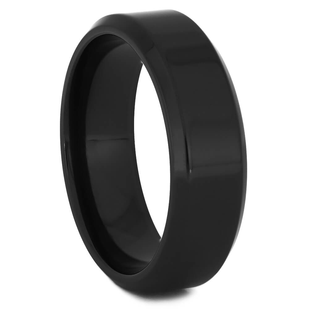Beveled Black Zirconium Wedding Band, Size 10-RS11249 - Jewelry by Johan