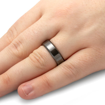 Beveled Black Zirconium Wedding Band with Polished Finish-4522 - Jewelry by Johan