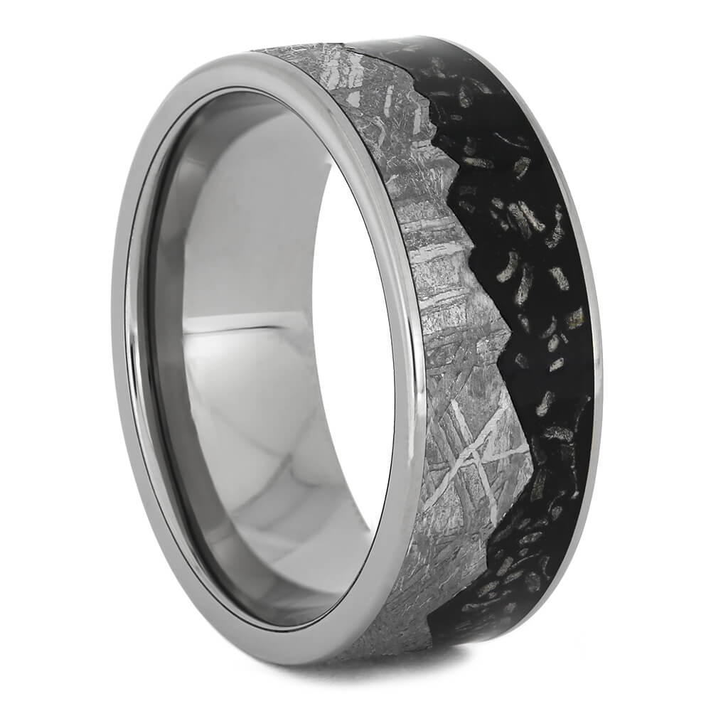 Black Stardust™ Wedding Band with Meteorite Mountain Design-4526 - Jewelry by Johan