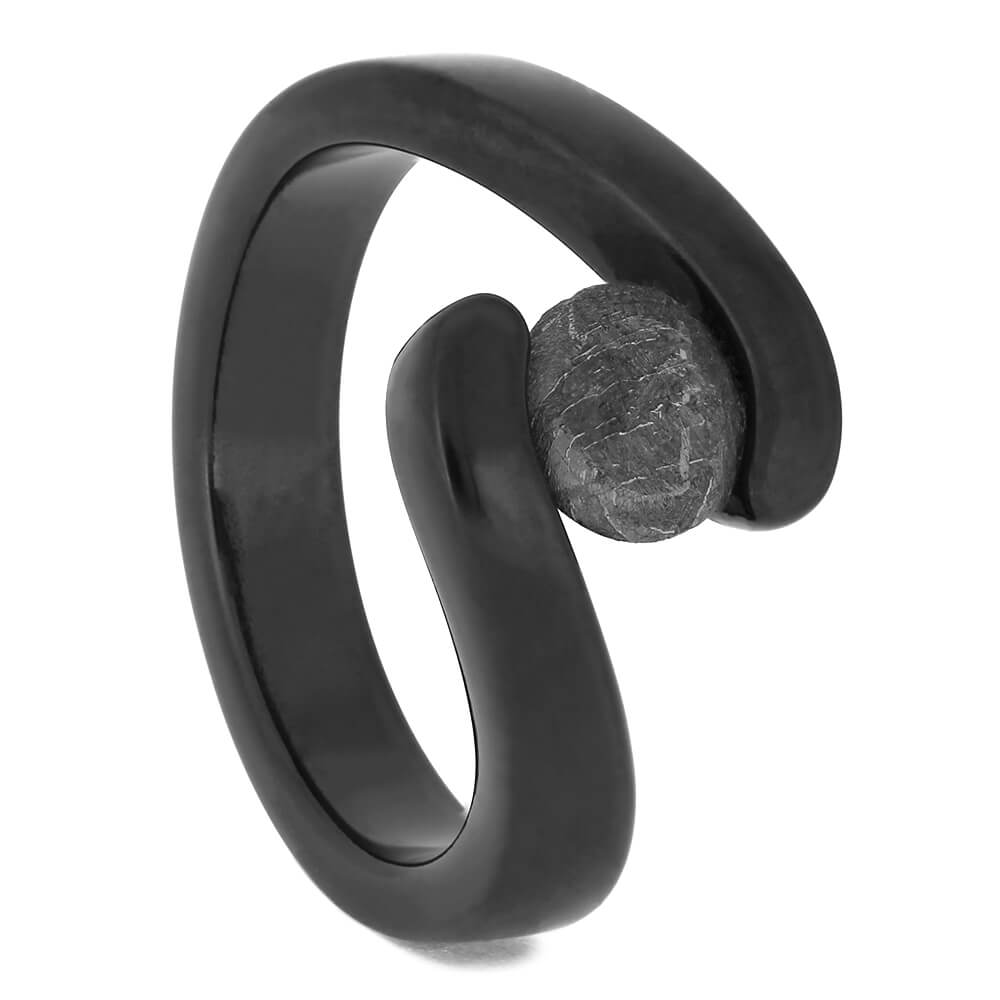 Black Engagement Ring with Faux Tension Set Meteorite Stone-4527-MET - Jewelry by Johan