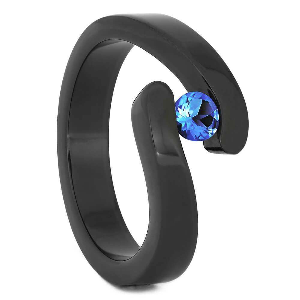 Tension Set Blue Sapphire in Black Zirconium Engagement Ring-4527 - Jewelry by Johan