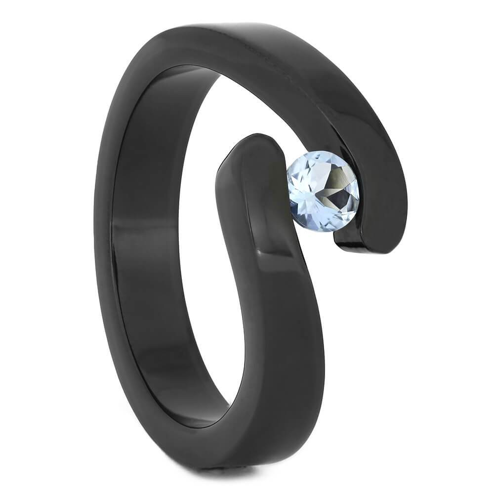Black Zirconium Tension Set Aquamarine Engagement Ring, Size 7-RS11301 - Jewelry by Johan