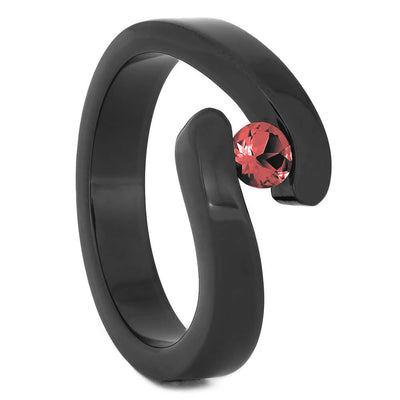 Tension Set Ruby in Black Zirconium Engagement Ring-4527 - Jewelry by Johan