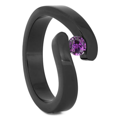 Tension Set Alexandrite in Black Zirconium Engagement Ring-4527 - Jewelry by Johan