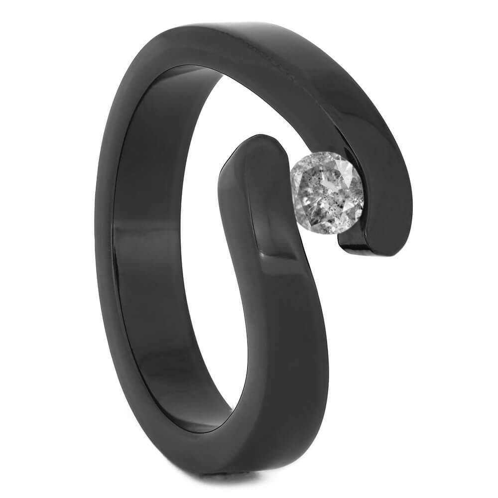 Tension Set Salt and Pepper Diamond in Black Zirconium Engagement Ring-4527 - Jewelry by Johan