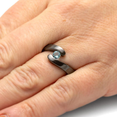 Tension Set Aquamarine in Black Zirconium Engagement Ring-4527 - Jewelry by Johan